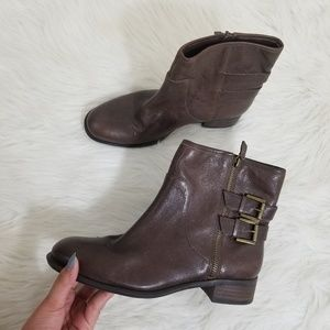Nine west justthis leather brown ankle boots 8 1/2